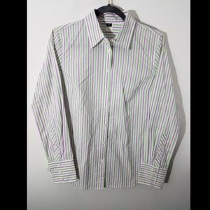 J.Crew Purple Green Stripe Button Front Shirt